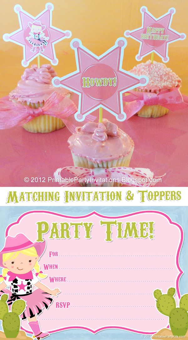 image relating to Free Printable Cowgirl Birthday Invitations identified as No cost Printable Cowgirl Invites with Matching Cupcake