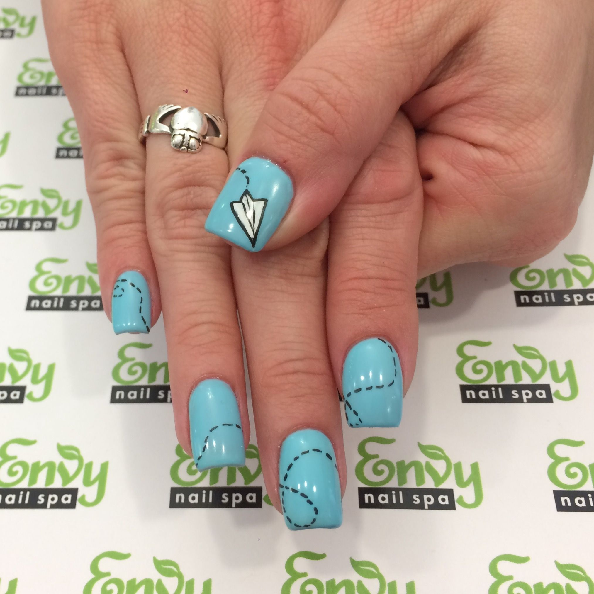 Paper Airplane Nails - Envy Nail Spa | Misc. | Pinterest | Nail envy ...