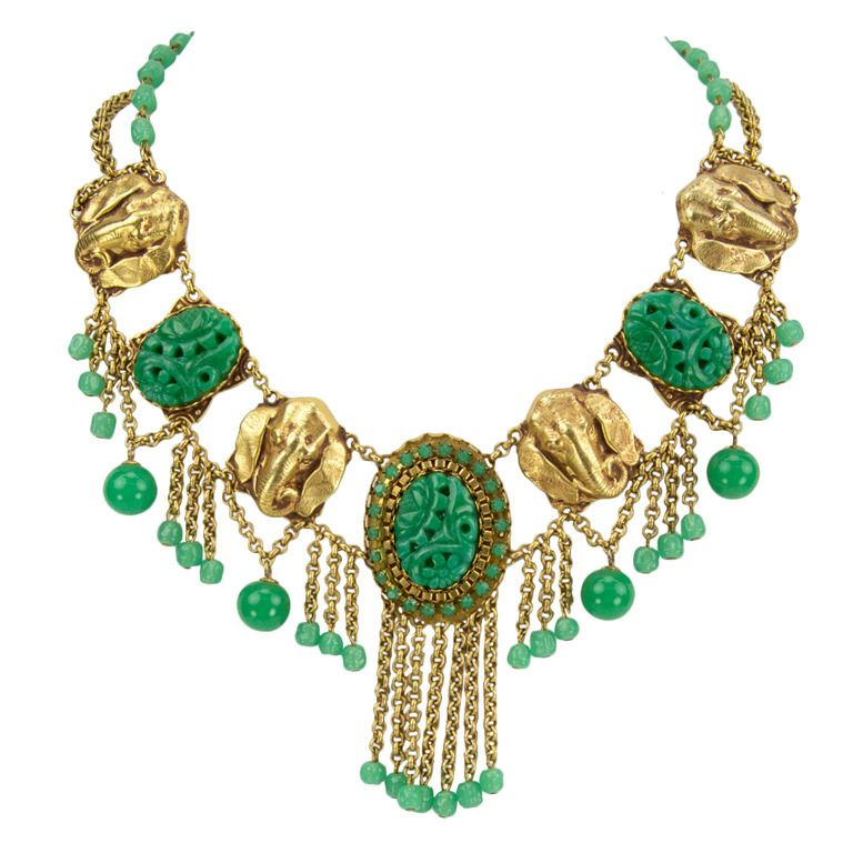 Green Peking Glass Elephant Signed Askew London Tassel Necklace | From a unique collection of vintage drop necklaces at http://www.1stdibs.com/jewelry/necklaces/drop-necklaces/