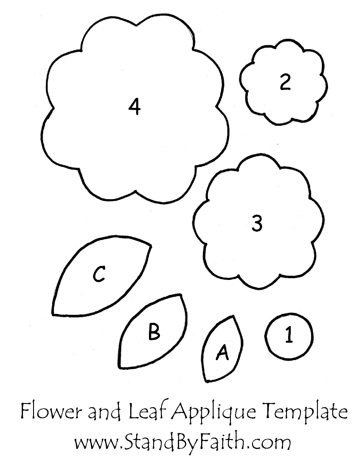 Free Flower And Leaf Applique Template Paper Flowers Pinterest