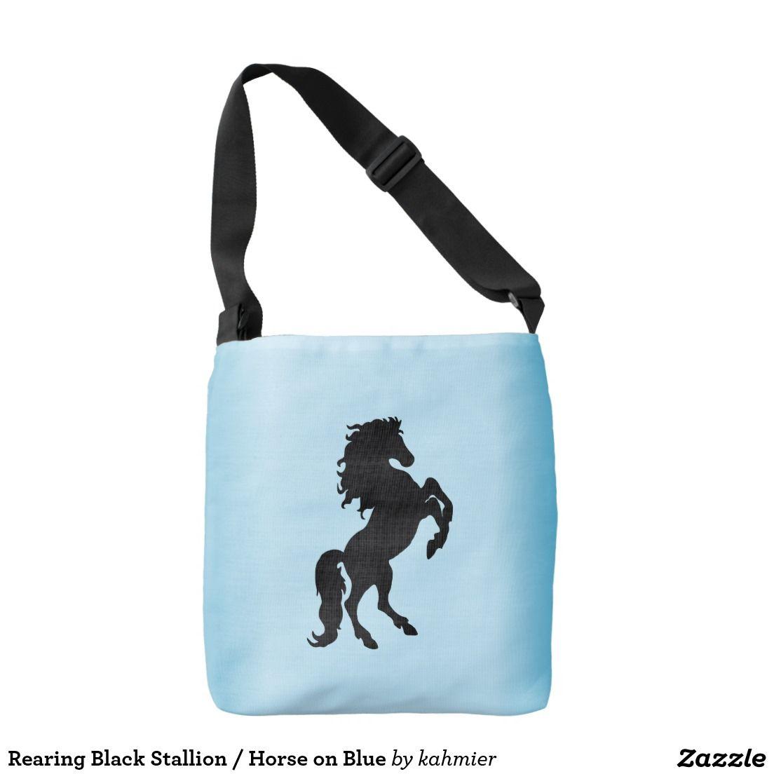 Rearing Black Stallion / Horse on Blue Crossbody Bag #equine 40% off tote bags #zazzle www.leatherwooddesign.com  #sale