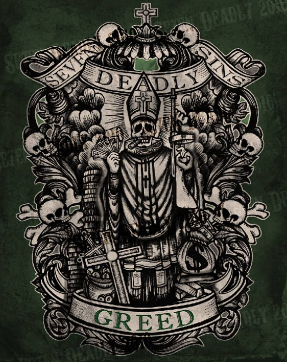 Se7en deadly deadly greed print 11x14 outgoing for Seven sins tattoo