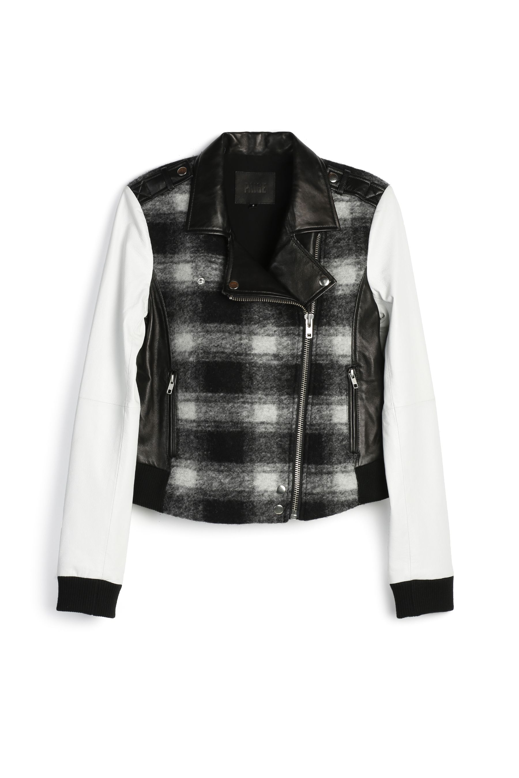 PAIGE Denim / Shelley Bomber as seen on Rosie Huntington-Whiteley  A plaid bomber jacket that's the perfect blend of edgy and modern. Made from wool blend and 100% lamb leather. Features white leather sleeves, a black and white brushed plaid body, silver zippers, leather epaulettes, a moto-style collar, and ribbed cuffs and hem.