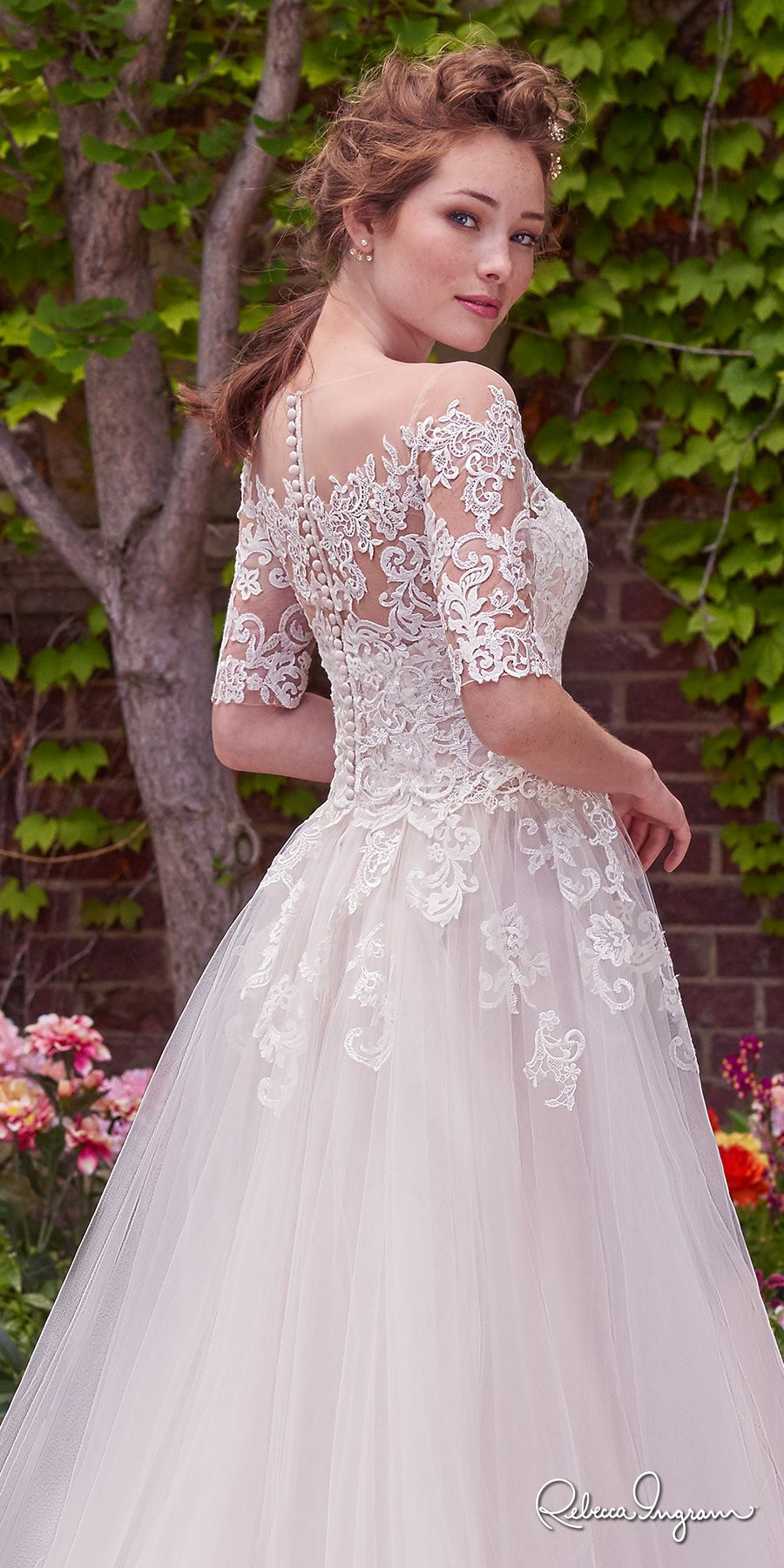e1dde42f29fc rebecca ingram 2017 bridal half sleeves illusion jewel straight across  neckline heavily embellished bodice romantic princess ball gown a line  wedding dress ...