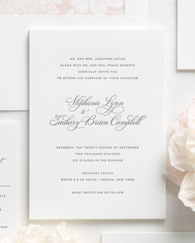 Delicate Elegance Letterpress Wedding Invitations | Wedding ...