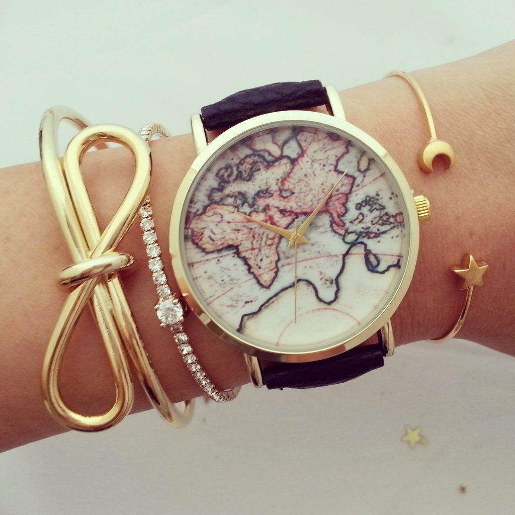 vintage world map watch! watch face 40mm