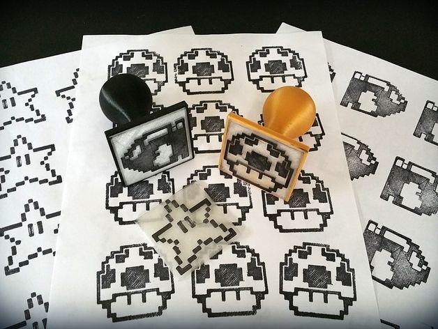 Diseños 3D de Sello de goma en 8 bits - ThingsCreators.com