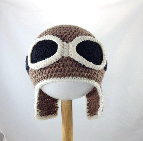 Crocheted baby aviator hat, vintage baby motorcycle helmet, moto ...