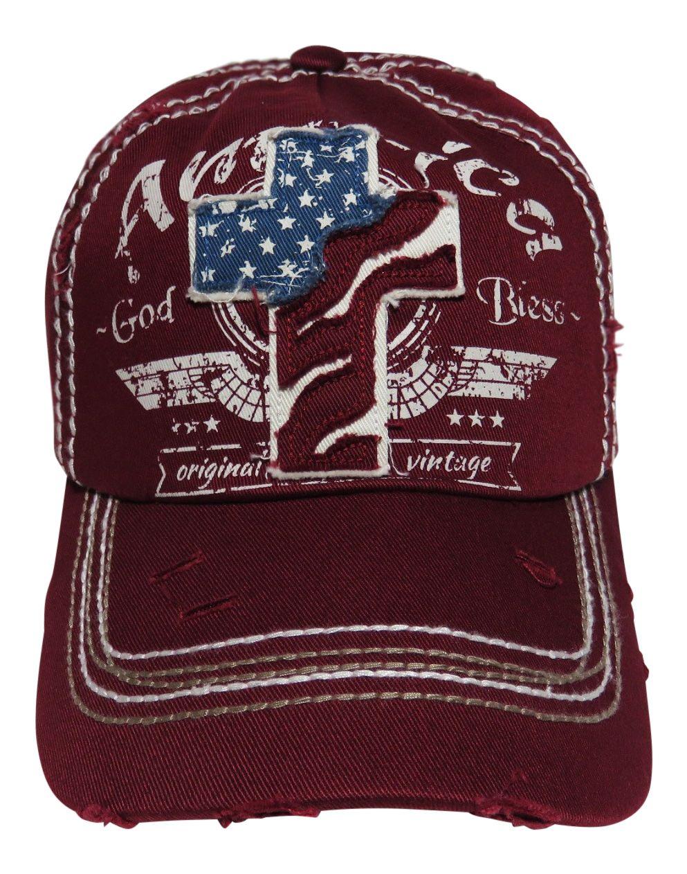 "NEW! ""God Bless America"" Cross Patch Burgundy Vintage Style Baseball Cap! Order at www.shopspiritcaps.com!"