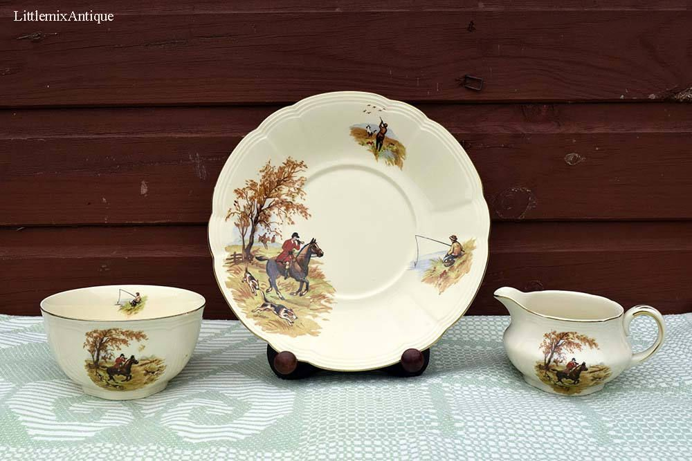 Set Of 3 Vintage Alfred Meakin England Hunting And Fishing Scene Decorated Cake Plate Creamer And Sugar Bowl Retro English English China Cake Plates Tableware