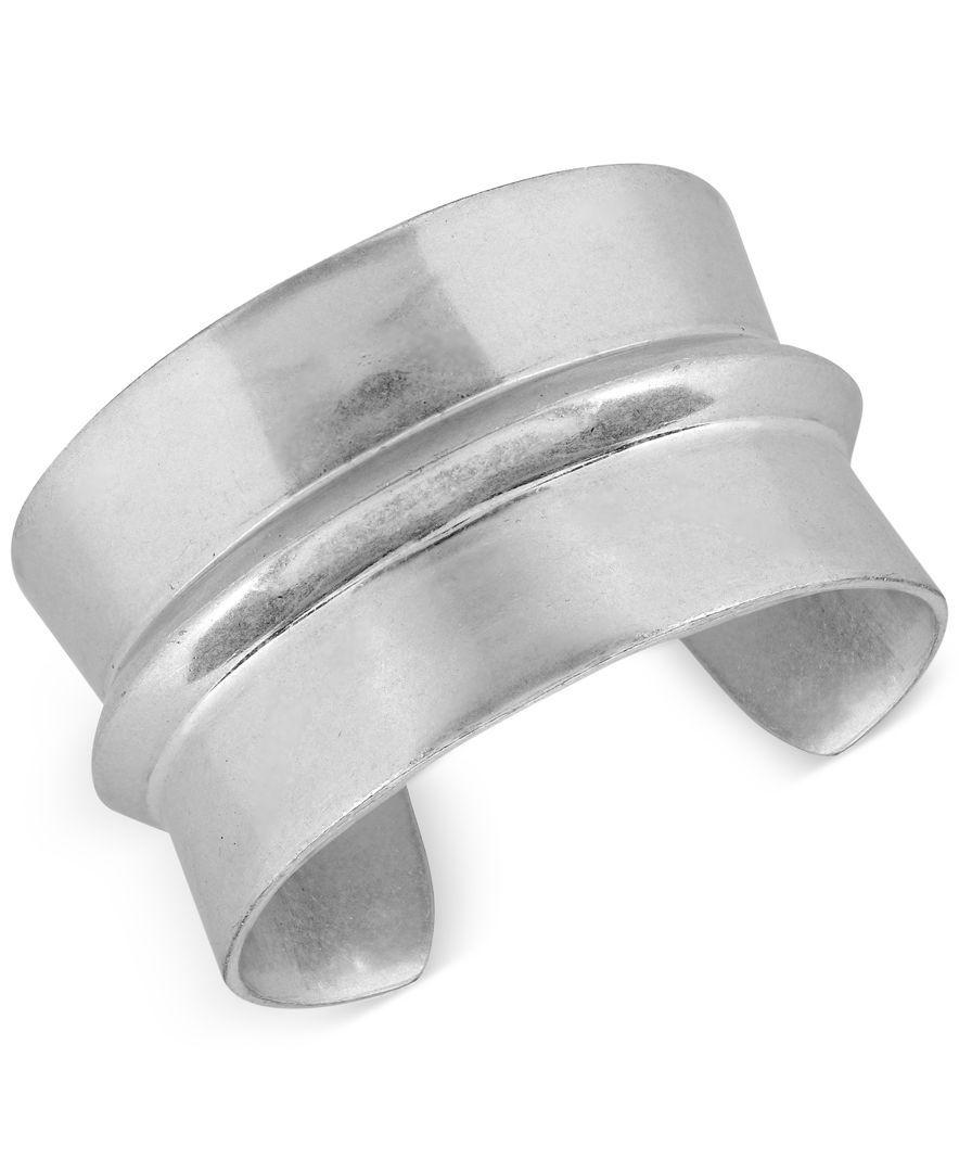 Lucky Brand Silver Tone Modular Open Cuff Bracelet