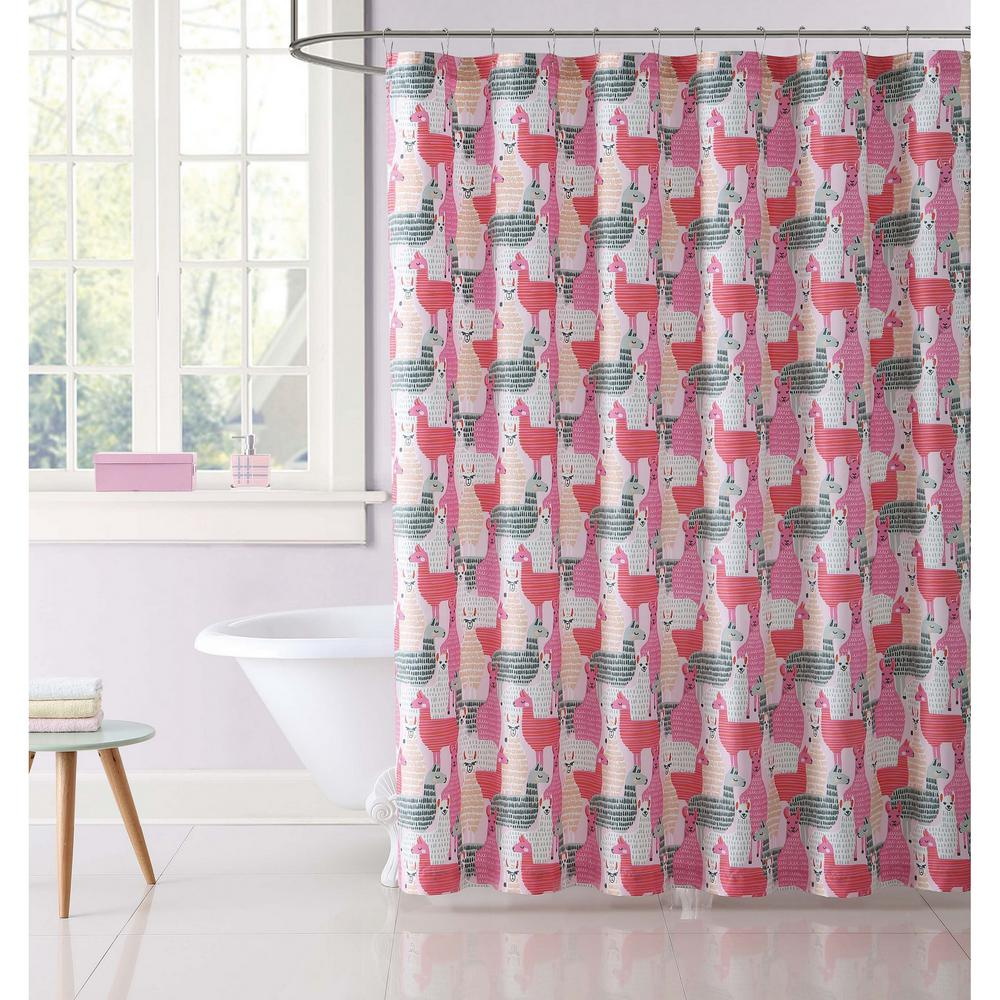 My World Llama Llama Printed 72 In Pink And Grey Shower Curtain