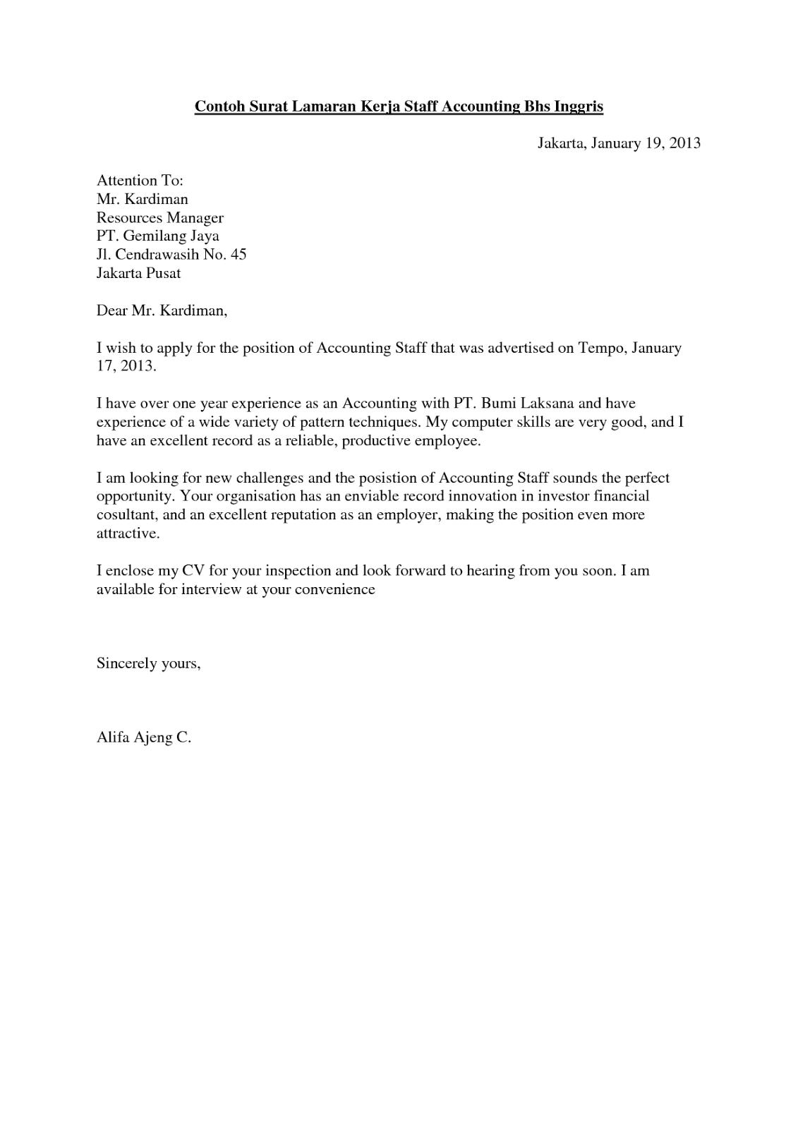 Contoh Application Letter Bahasa Inggris Terbaru Cover Lbartman