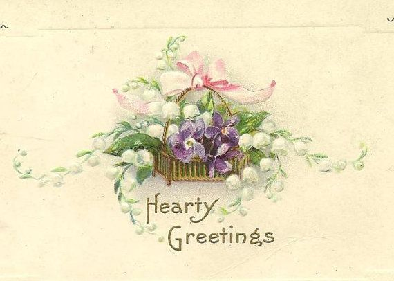 Lilyofthevalley and purple pansies in basket  by TheOldBarnDoor, $4.00