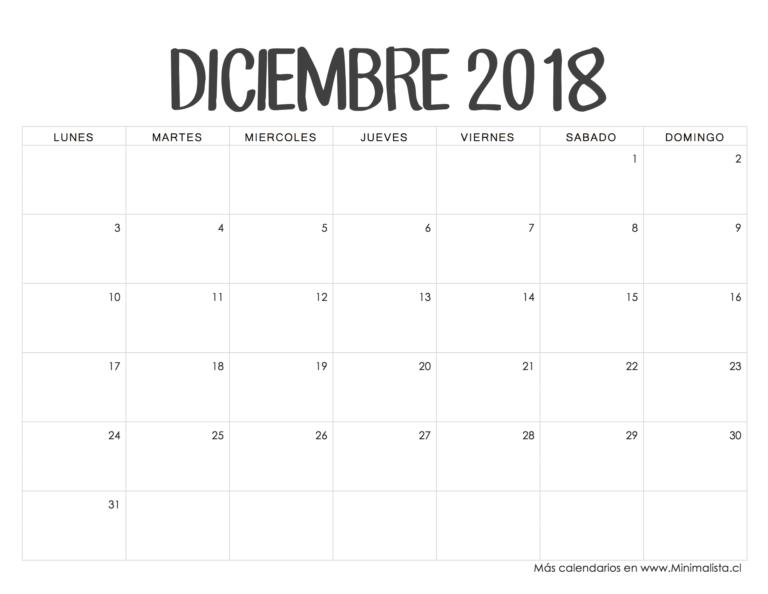 calendarios para imprimir 2018