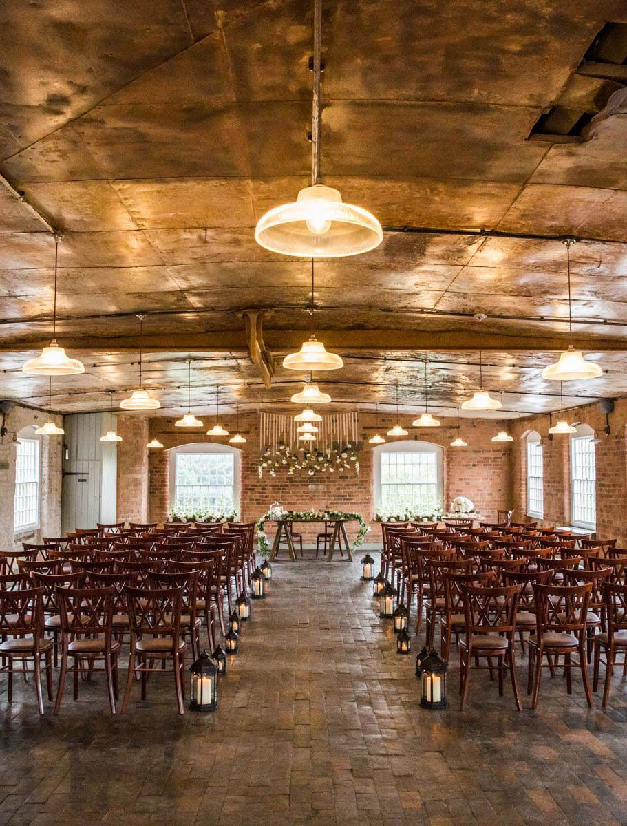 Classic Prismatic Pendants Hanging The Cotton Quarter At West Mill Wedding Venue Derbyshire