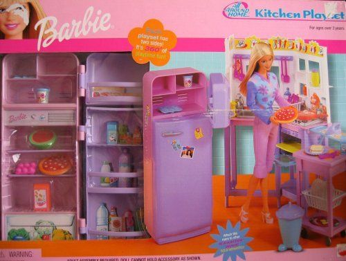 barbie kitchen playset gray table and chairs all around home w fridge food more 2001 by mattel 59 99