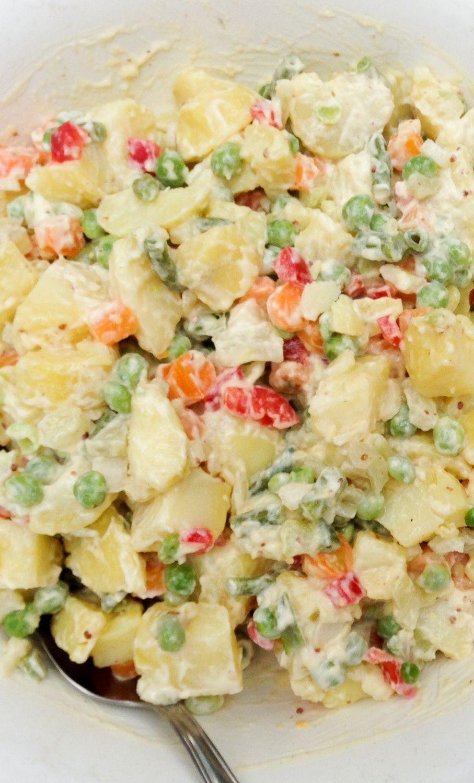 Ensalada de papas mayo a la antigua, receta chilena
