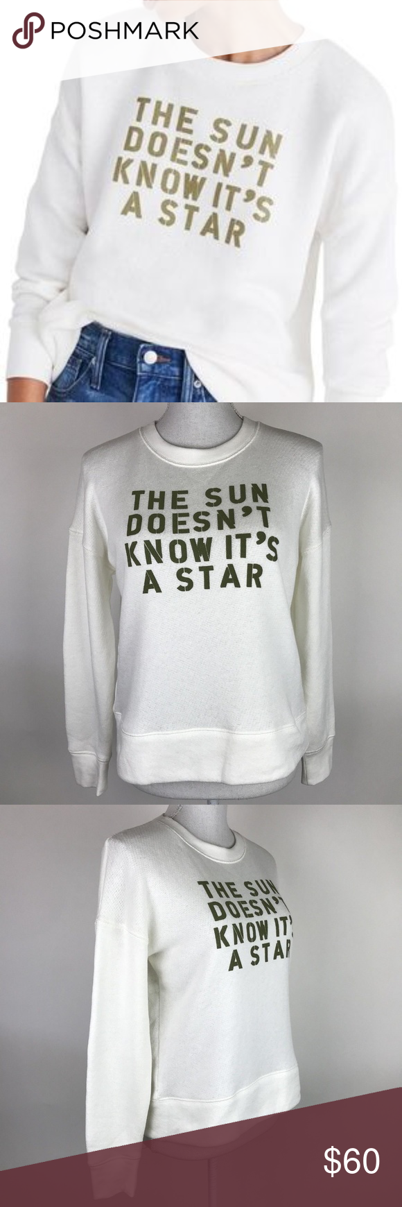 ba093311c8a Madewell Sun Doesn't Know It's a Star Sweatshirt Miles by Madewell 'The Sun  Doesn't Know It's a Star' pullover sweater in ivory with olive green  lettering ...