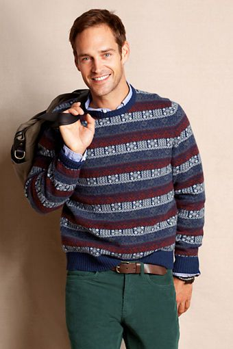 Men's Lambswool Fair Isle Crewneck Sweater from Lands' End Canvas ...