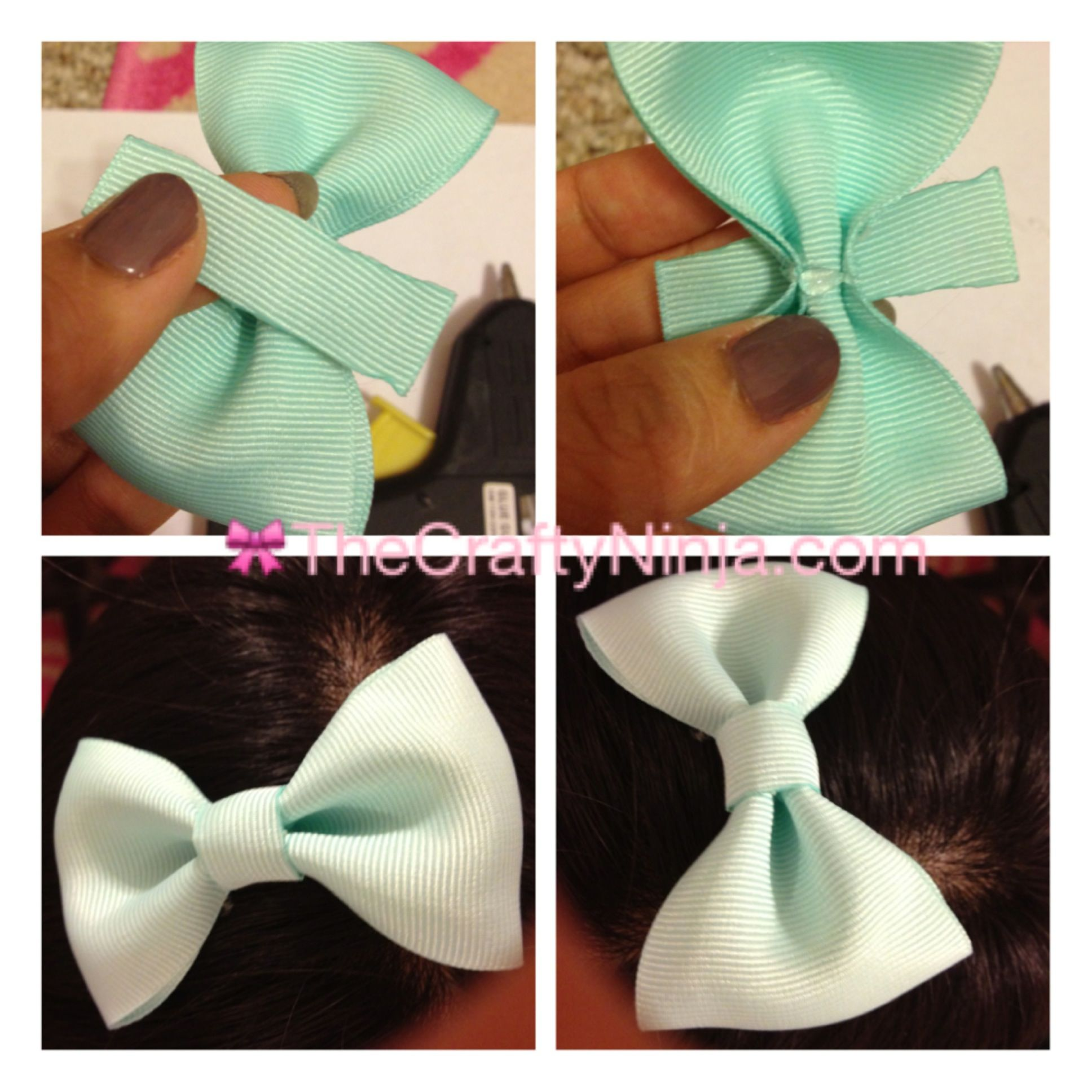 Ribbon hair bow tutorial i want to get some animal print ribbon diy ribbon bow step 4 so making this for easter baditri Image collections