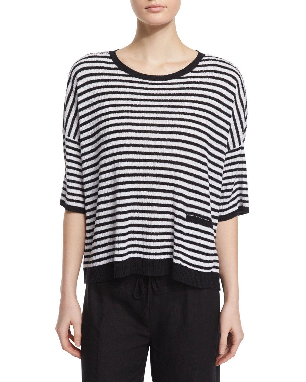 e70038913a5 Short-Sleeve Striped Textured Organic Linen Top
