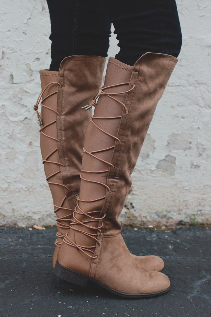 Faux Suede Lace Up Back Round Toe Riding Boots Oksana 118