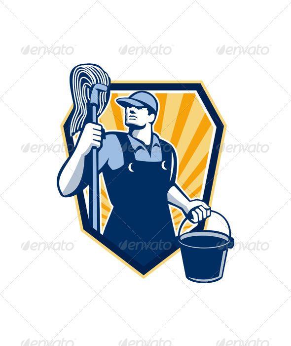 janitor holding mop bucket shield retro fontslogos