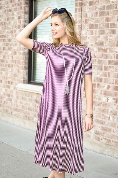 94a4dfc0a60 Jenna Stripe Midi Dress In Burgundy - My Sisters Closet