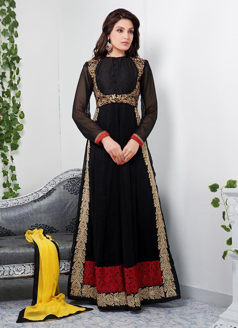 Black georgette ankle length anarkali dresses pinterest