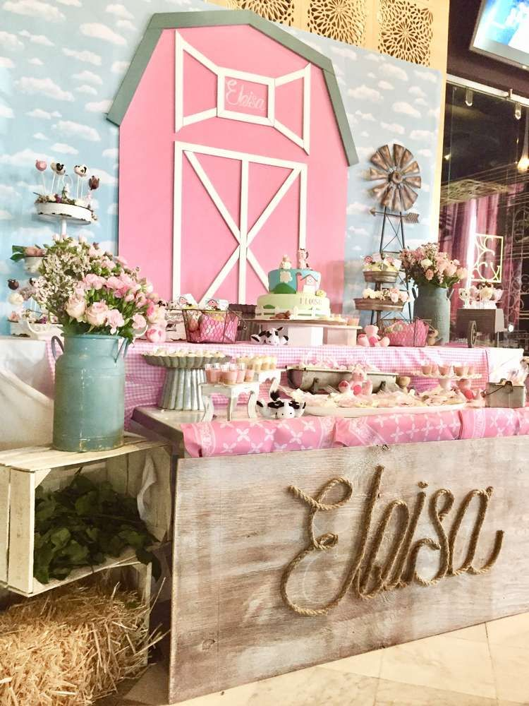 Loving the pink dessert table at this Farm Baby Shower is