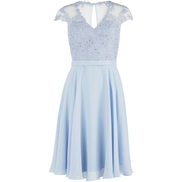 Gina Bacconi Chiffon Dress With Fancy Bodice, Blue (630 CAD) ❤ liked on Polyvore featuring dresses, chiffon maxi dress, cap sleeve dress, blue maxi dress, bridesmaid dresses and sequin maxi dress