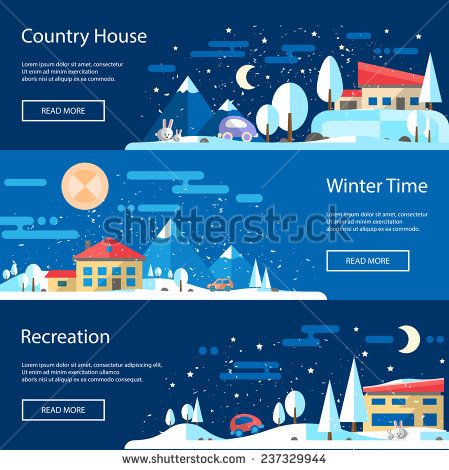 Illustration of vector flat design urban winter landscape compositions - stock vector