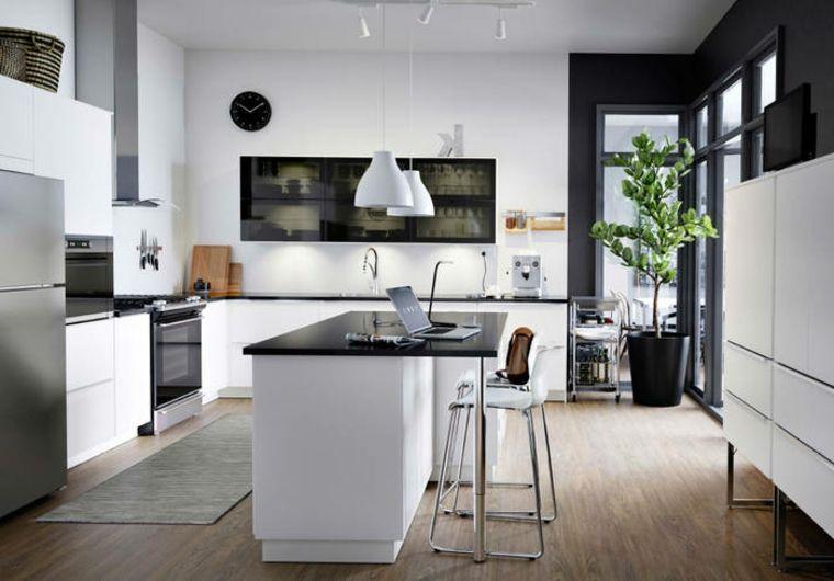 idea per arredare cucine moderne piccole con isola, nobili bianchi e ...