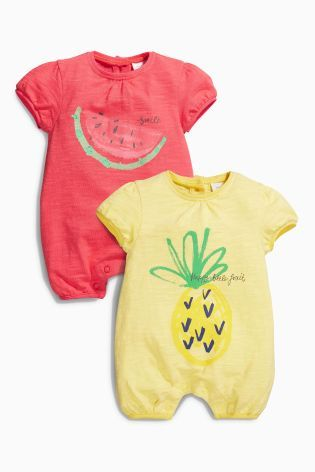 Buy Red Yellow Fruit Rompers Two Pack 0mths 2yrs Online Today At