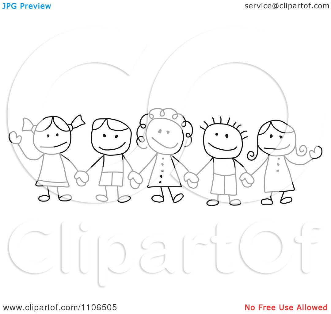 children holding hands drawing | black and white stick drawing of