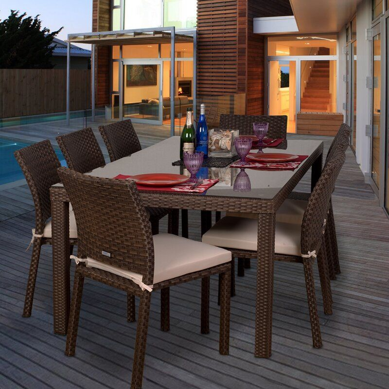 Monett 9 Piece Dining Set With Cushions In 2020 Patio Dining Set Outdoor Furniture Sets 7 Piece Dining Set