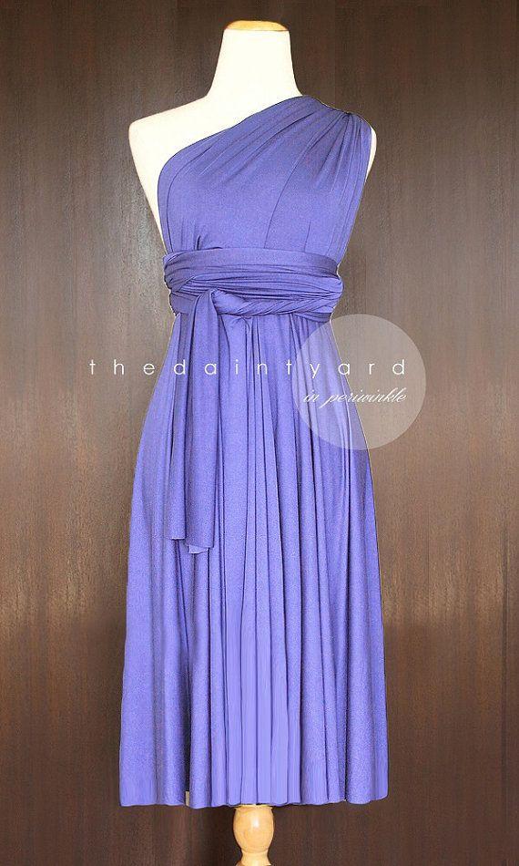 Short Straight Hem Periwinkle Bridesmaid Convertible Dress Infinity ...