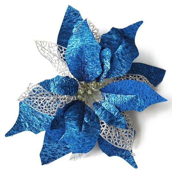 Amazon Com Ornerx 10 Glitter Poinsettia Flower Christmas Tree 16 Liked On Polyvo Blue Christmas Ornaments Blue Christmas Tree Holiday Decor Christmas