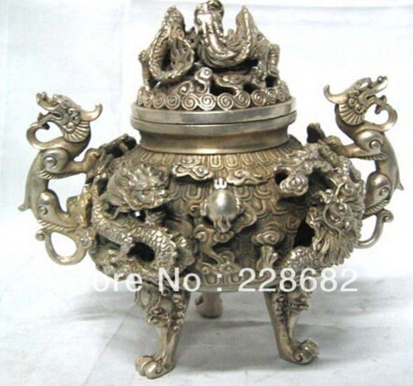Asian Antique home decoration Tibet Silver dragon Incense Burner Metal crafts $68.9