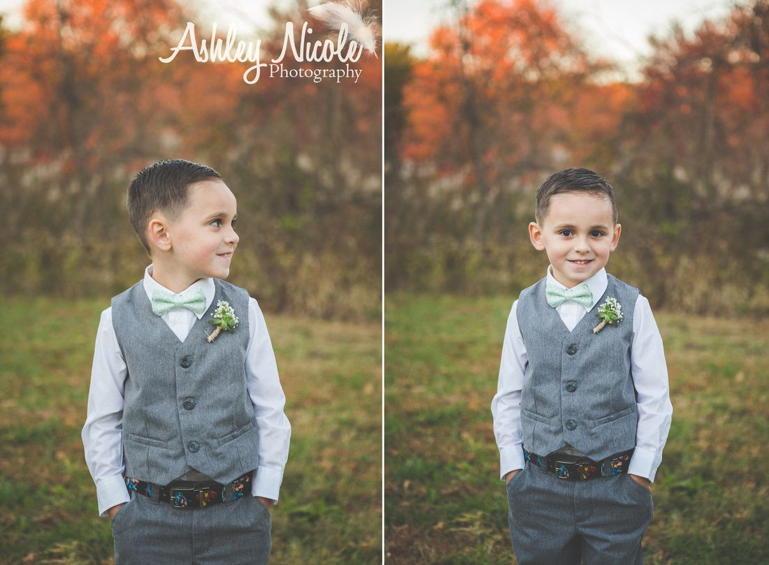 Fall Rustic Wedding Ring Bearer In Grey Vest Baby S Breath Boutonniere And Mint Green