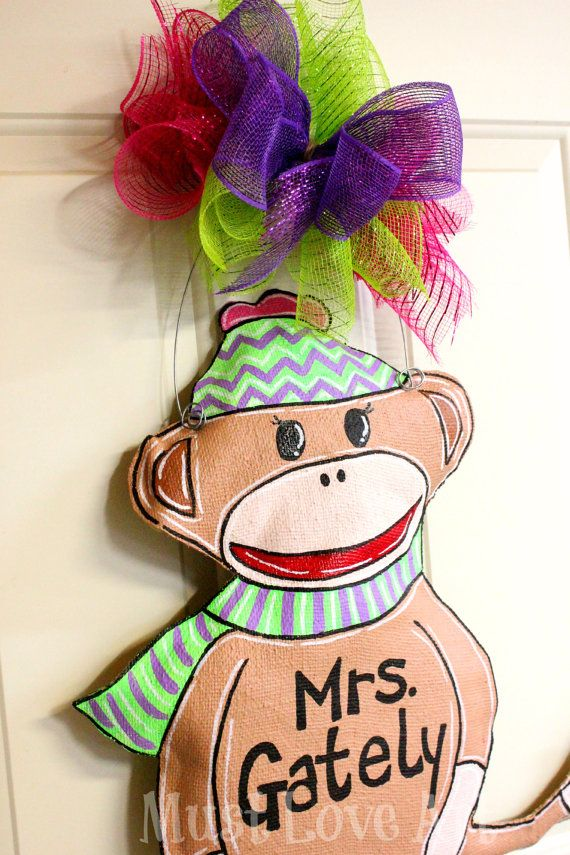 Monkey Burlap Door Hanger Decoration or Wreath