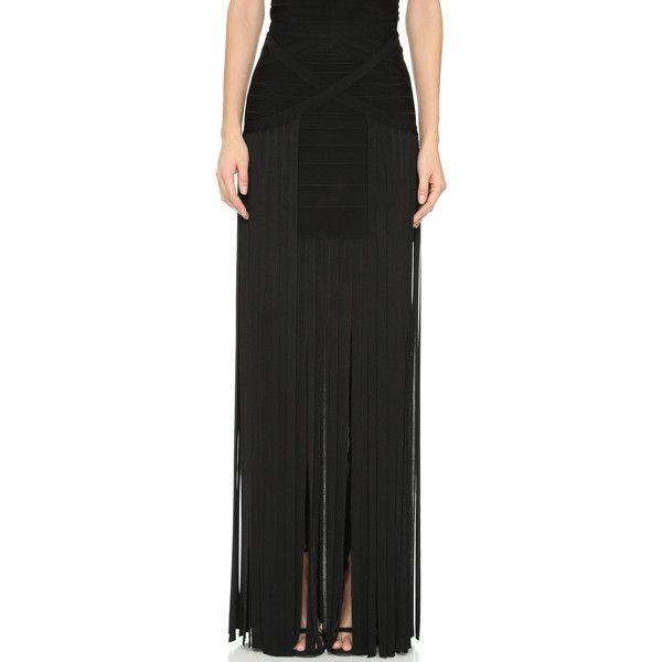 Herve Leger Margarida Fringe Skirt ($1,360) ❤ liked on Polyvore featuring skirts, black, fringe skirt, black fitted skirt, black fringe skirt, herve leger skirt and black knee length skirt