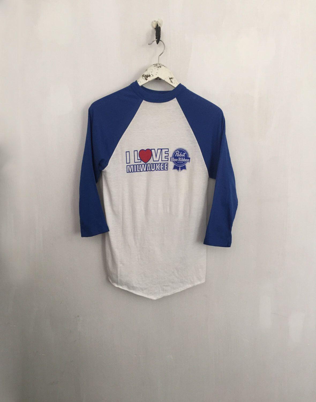 Pabst Blue Ribbon shirt 80s vintage t shirt raglan tee vintage beer ...
