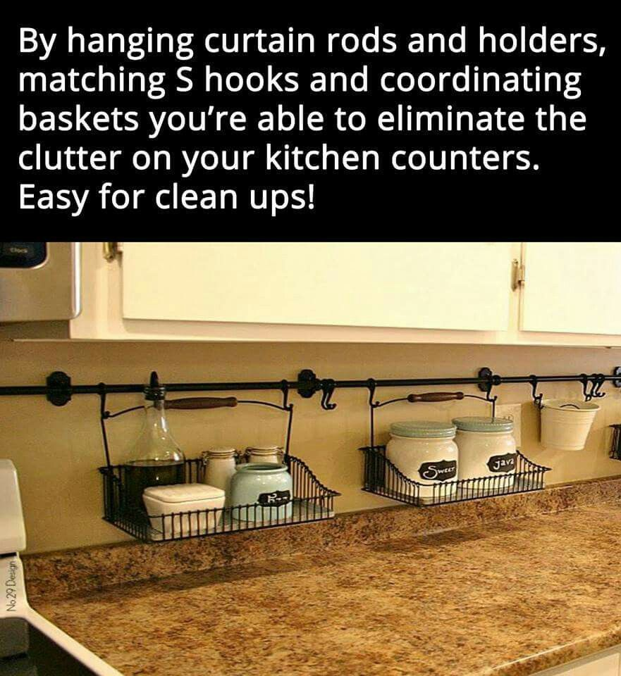 Using curtain rods, hangers and baskets for kitchen organization