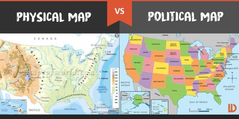 Physical Map vs. Political Map: What's the Difference