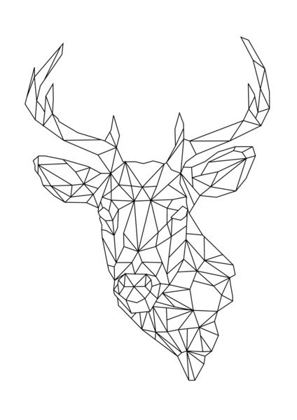 deer art print embroidery patterns dessin g om trique peinture g om trique dessin origami. Black Bedroom Furniture Sets. Home Design Ideas