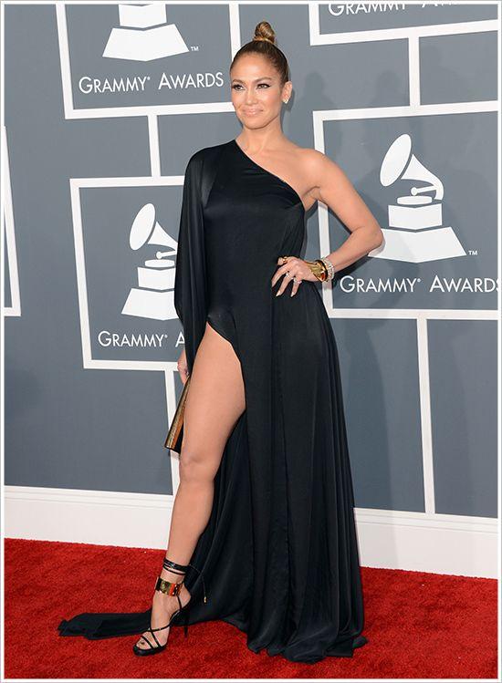 bd9b128bde349 Gremmy Awards Sexy Jennifer Lopez One Sleeve Black High Split ...