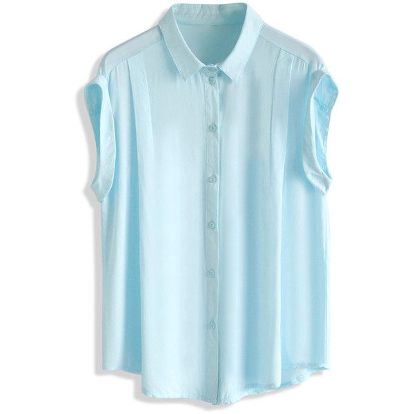 Chicwish Soft Touch Sleeveless Top in Blue (€32) ❤ liked on Polyvore featuring tops, blue, blue tank top, sleeveless collared top, relaxed fit tank top, blue top and collared tank top