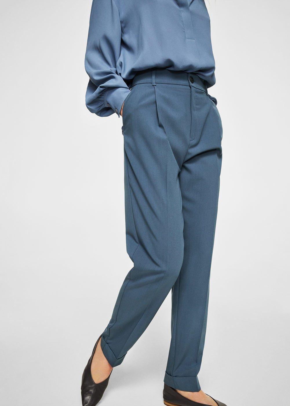 Pantalón traje pinzas - Mujer  18b373047172